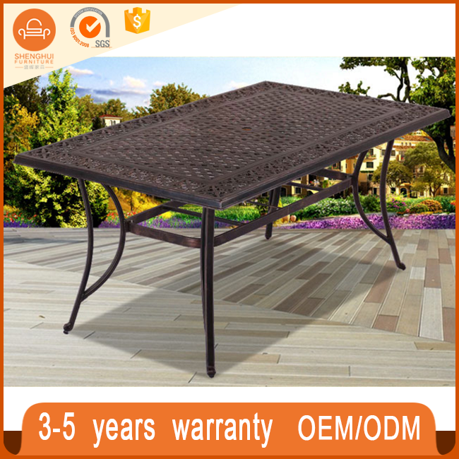 Cheap Black Cast Aluminum Dining Set Patio 6 Chairs And Long Table Outdoor Metal Furniture