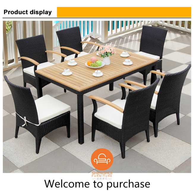Wondrous Hot Selling Black Rattan Dining Table Set For 6 People With Short Links Chair Design For Home Short Linksinfo