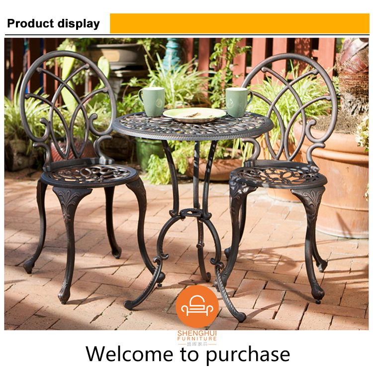 Outdoor Cheap Garden Furniture Patio Spacesaving White Metal - Aluminum table and chairs for restaurant