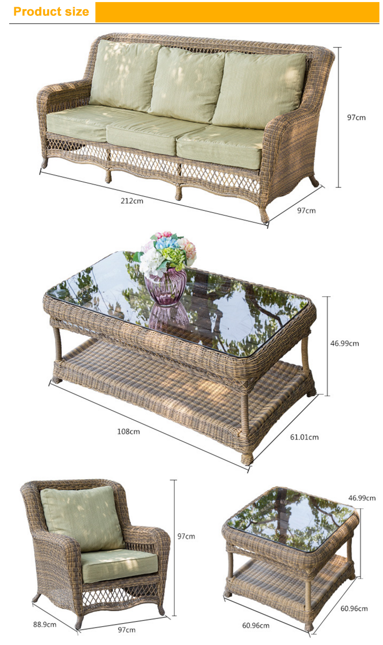 All weather high end antique wicker Bird Nest weaved rattan sofa set ...