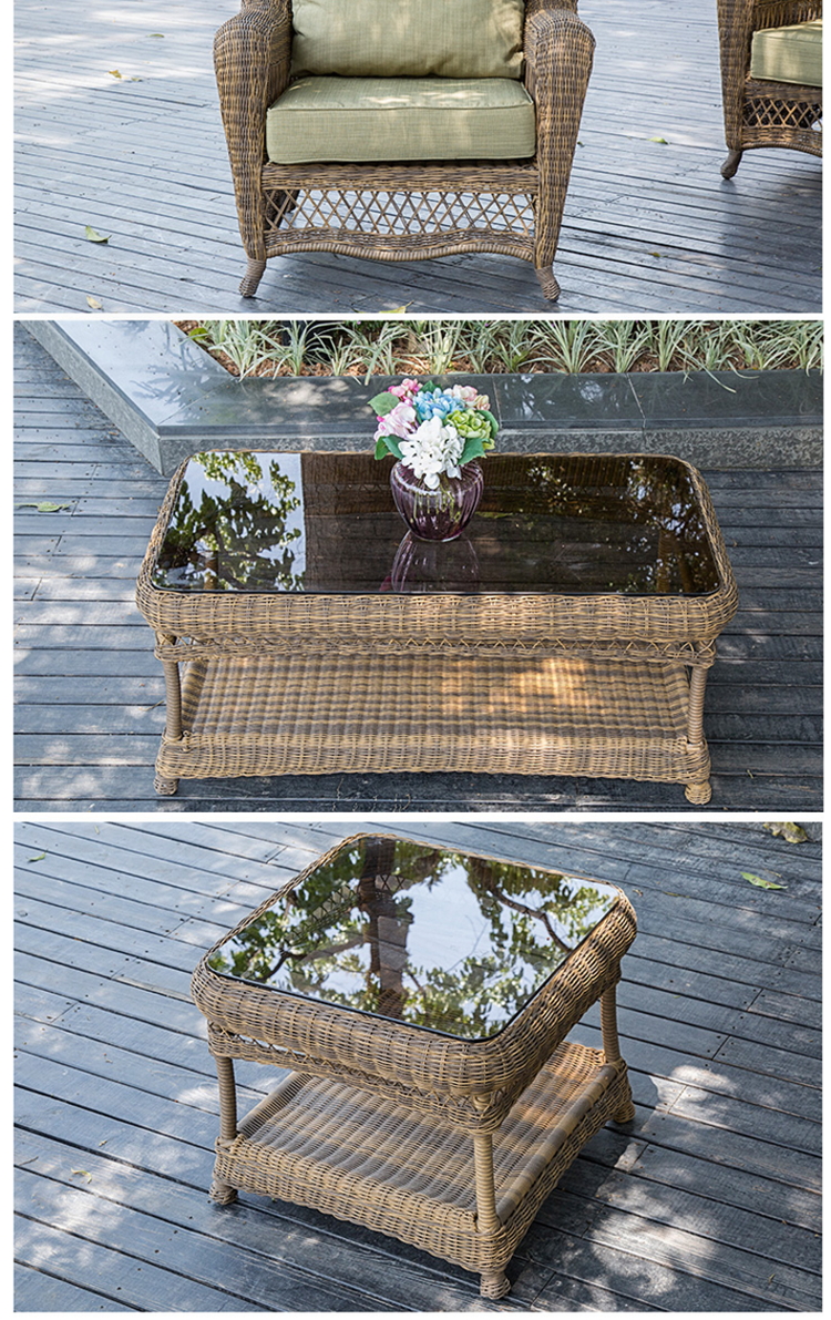 All weather high end antique wicker bird nest weaved rattan sofa set coffee table living room for Rattan side tables living room