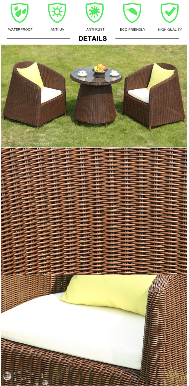 High quality rattan ourdoor furniture PE wicker chair and table for ...