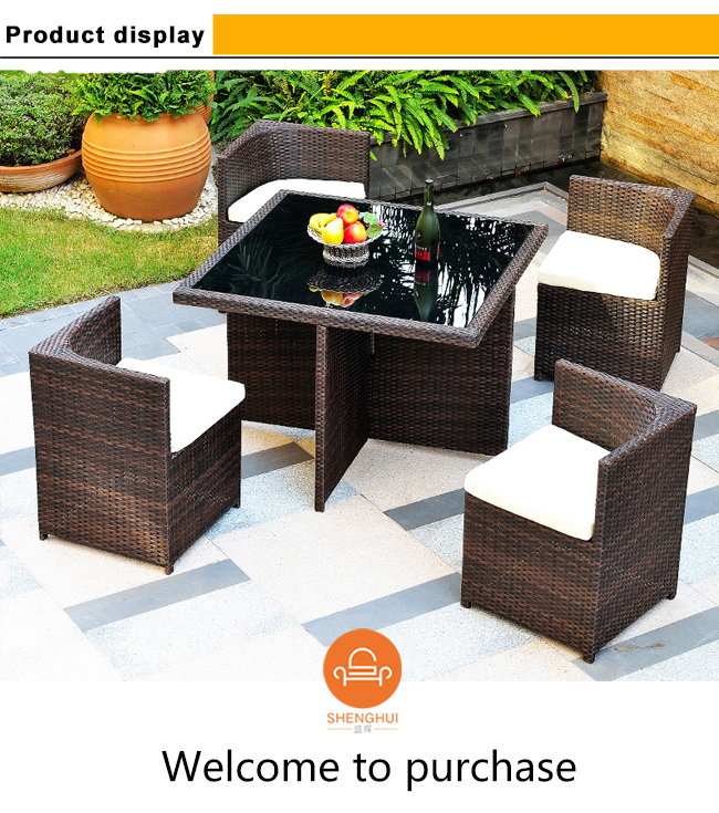 Leisure Outdoor Table And Chairs For Cafe Bar Pe Rattan Antique